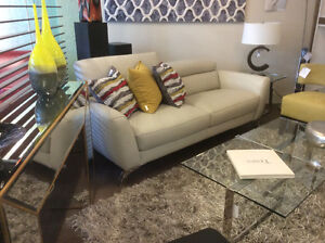 Contemporary leather sofas and chairs