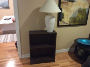 Shelving unit with lamp.