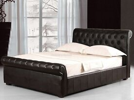 New Chesterfield Brown & Black Leather Small Double 4FT&Standard Double 4FT6&King Size 5FT Bed Frame