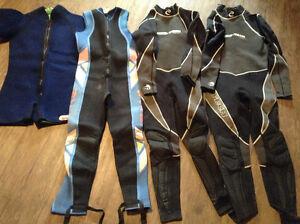 Assorted wet suits