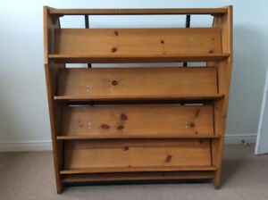 "54.25"" Vintage Wood Library Shelving / Double-faced Book Case"