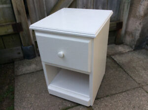 """1 White Solid Wood Bedside Table 15""""Square, 21""""High, FIRM PRICE"""