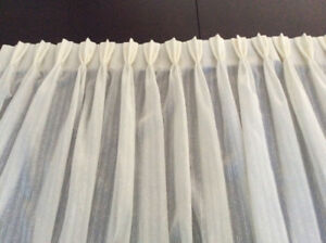 Pinch Pleated Semi Sheer Custom Ivory Curtains and Rods