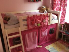 M&S mid-sleeper cabin bed with slide, house tent & tunnel tent