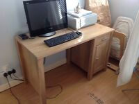 Oak effect computer desk