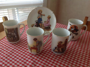 Norman Rockwell 's 4Mugs,1Collectible Plate