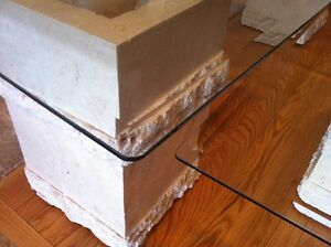 Contemporary Coffee &  End Tables, Glass & Carved Limestone Base Cambridge Kitchener Area image 6