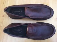 TIMBERLAND BROWN LEATHER SLIP ON MENS SHOES.
