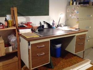 Double pedestal desk.  Four drawers.