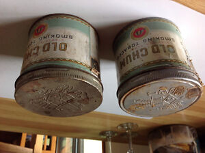 2 OLD CHUM Smoking Tobacco Tins-Vintage Empty Tins with Lids
