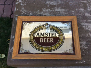 "Vintage Amstel Beer Bar Mirror 20"" x14"""
