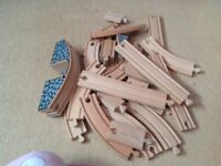 Wooden train set with Thomas train and bridge