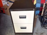 2 drawer filing cabinet with files