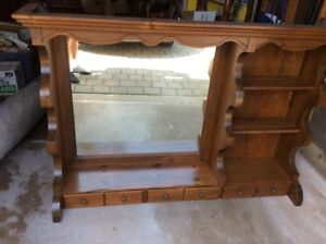 PINE DRESSER HUTCH WITH MIRROR, SHELVES AND DRAWERS