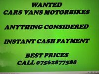 Scrap cars and vans wanted for cash 07562877588