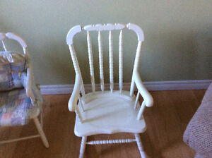 Child solid wood chair and matching rocking chair