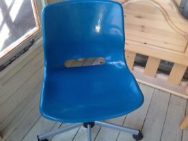 Childs computer chair teal excellent condition adjustable with casters
