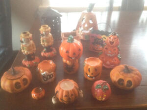 ASSORTED HALLOWEEN THEME CANDLES AND CANDLE HOLDERS