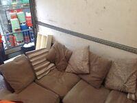 Corner unit corner sofa settee cream / brown