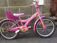 "Girls bike, pink, 20"" wheels, single speed, reasonable condition"
