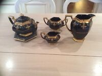 Welsh vintage china pottery set Victorian rare black and gold