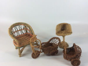 Vintage Miniature Wicker Chairs, Baby Buggy and Tricycle Cart