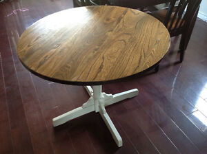 Real wood rustic round table