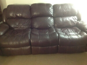 Recliner burgundy genuine leather from Leons