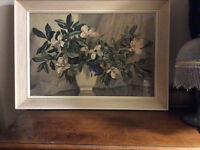 Antique White Floral Picture