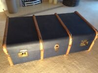 Vintage old steamer travel trunk box display