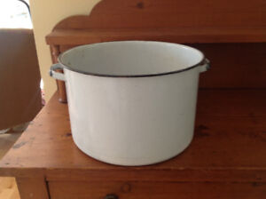 White enamel antique Pots for dying wool