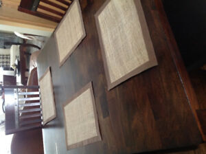 6 place mats like new! Light brown Burlap with dark brown  trim