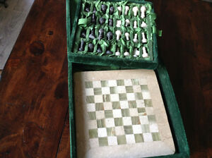 Afganistan Chess Marble Set W/hand Carved Pieces
