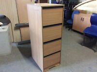 Beech 4 drawer wooden filing cabinet