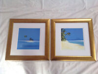 2 John Horsewell prints in brushed gold frames