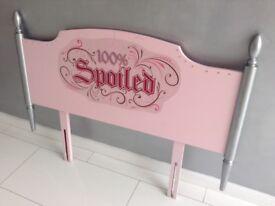 Custom Girls Pink & Silver Single Bed Headboard (100% Spoiled Graphic & Diamantes)
