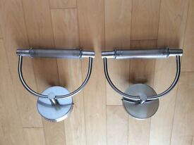 Pair of Stainless Steel Halogen Wall Lights