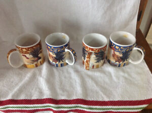 Set of 4 Cracker Barrel Farm Fresh coffee/tea mugs