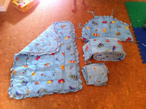 Crib bumper pads, quilt, and flannel sheets