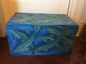 LITTLE WOODEN ANTIQUE TRUNK WITH CARVED DOLPHINS