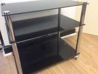 Black glass side table/ tv stand
