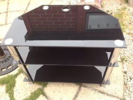 Tv stand cabinet black glass and chrome