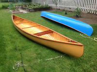 16 ft Wood Canvass canoe