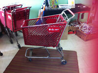 4 Red shopping carts. Must sell store closing. Friday by 3.
