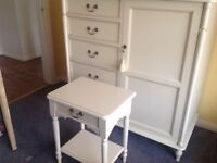 Laura Ashley Clifton Ivory 1 Drawer Bedside Cabinet - 2off plus 1 Clifton 5Drawer half wardrobe.