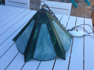 Beautiful green stained glass hanging light