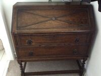Old Oak Bureau with Original Handles and Barley Twist Legs, Lots Of Detail Lovely condition