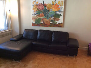 Leather Sectional and Bookcase