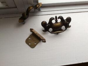 Hinges, door handles, and drawer pulls