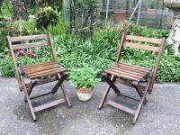 1/pair Vintage Childs wooden garden deck chairs